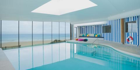 The infinity pool at the Watergate Bay Hotel.