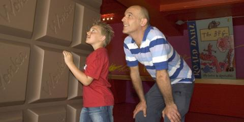 Father and son at Roald Dahl Museum
