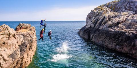 Family adventures - coasteering on Guernsey