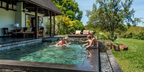 Fun in the pool at the Four Seasons Resort Mauritius at Anahita