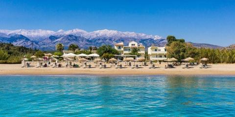 GK Beach Hotel is a small family-run hotel on Crete with a stunning backdrop.
