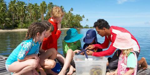 New experiences with the kids' club at Jean-Michel Cousteau in Fiji.