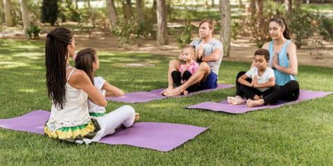 Family yoga at Pine Cliffs.