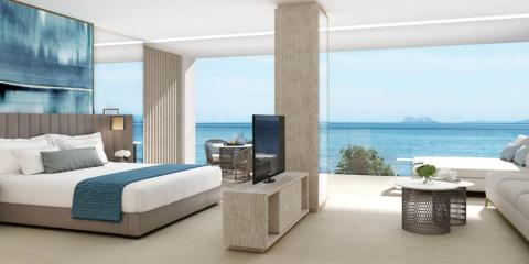 Super-stylish seaview bedroom at Ikos Andalusia.