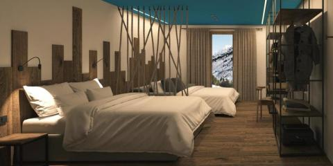 Stylish and modern bedroom at Ushuaia Mountain Hotel.