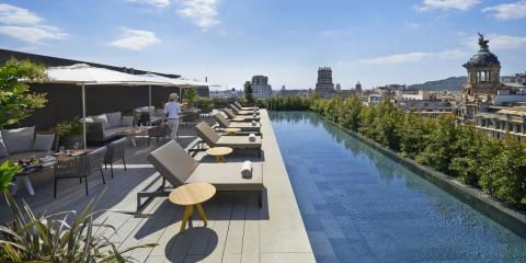Fine dining terrace and rooftop pool at Mandarin Oriental.