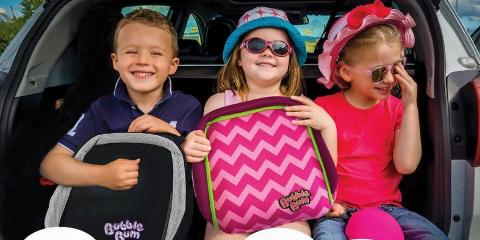 Travelling with a BubbleBum car seat can save on hire costs.