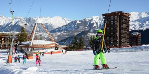 Learning to ski in the authentic French Alps resort of Le Corbier, Les Sybelles.