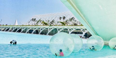 Water zorbing at the City of Arts and Sciences, Valencia.