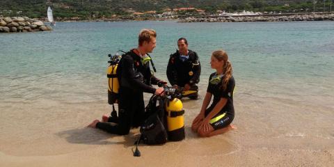 Scuba diving at Club Med Sant'Ambroggio.