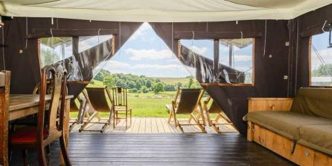 Spectacular view from inside a canvas lodge at Billingsmoor Farm.