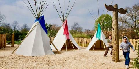 The teepees in the Diana, Princess of Wales' Memorial Playground.