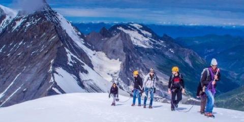 Glacier hiking in Tignes.