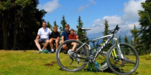 Joe and family mountainbiking in the Tirol, Austria