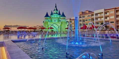 The fairy-tale castle and pool at the Fantasia Bahia Principe.