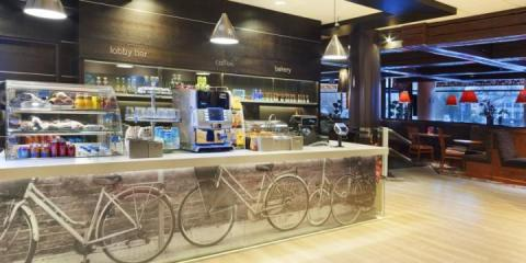 Reception and cafe at Hotel Cumulus Koskikatu, Finland.