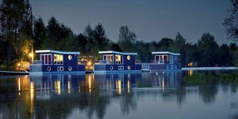 Boathouses at Center Parcs Bispinger Heide.