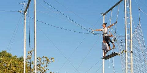 Learning the flying trapeze at Club Med Gregolimano.