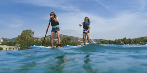 SUP paddle-boarding at Paleros Beach Resort.