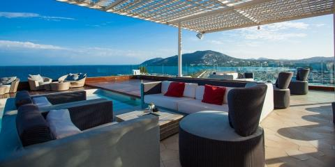 View from the Aguas de Ibiza's rooftop bar.