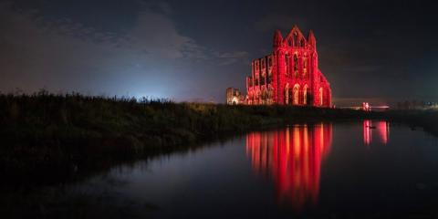 Whitby Abbey at Halloween.