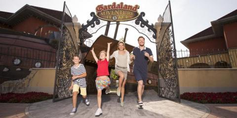 Main entrance to Gardaland Adventure Hotel.