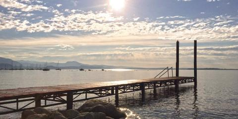 Private jetty on Lake Garda at Camping Piantelle.