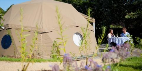 One of the pods with decking at Durrell Wildlife Camp.