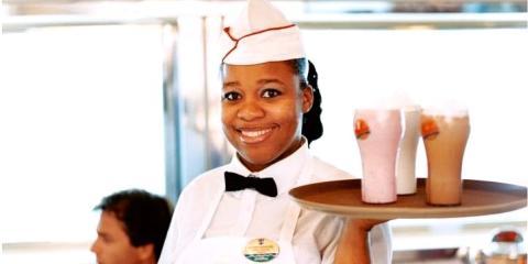 Milkshakes at Johnny Rockets burger bar.