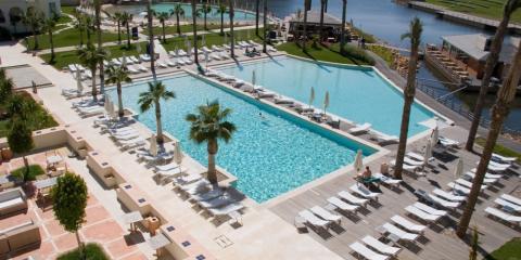 View of the lake and pools at Lake Spa Resort.