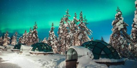 Glass igloos at Kakslauttanen Arctic Resort.