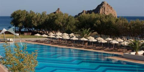 Portomyrina Palace Beachclub outdoor pool.