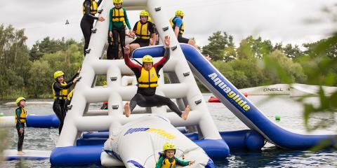 Inflatable fun on the lake at Tattershall.