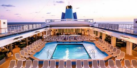 View of Marella Dream at sunset.