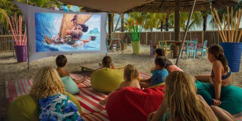 Kids' club outdoor cinema at Victoria Beachcomber.