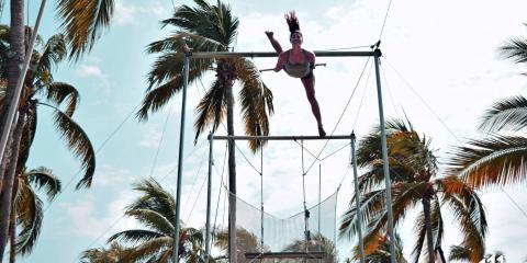 Flying trapeze circus skills at Club Med Ixtapa Pacific.