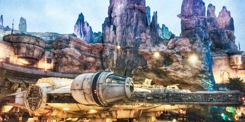 The Millennium Falcon in Star Wars: Galaxy's Edge.