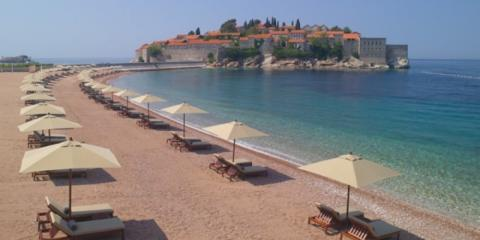 One of the beaches and the island at Aman Sveti Stefan.