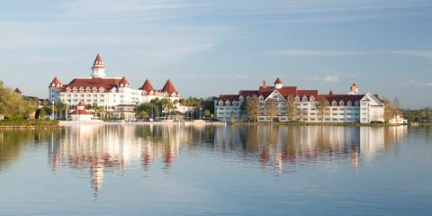 View from the lake of Disney's Saratoga Springs Resort & Spa.