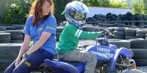 Ethan gets ready to take off on a quad-bike.