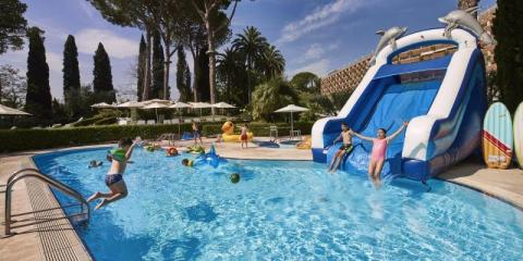 Pool time for the kids at Rome Cavalieri.