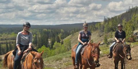 Horse riding at Big Creek Ranch, British Columbia.