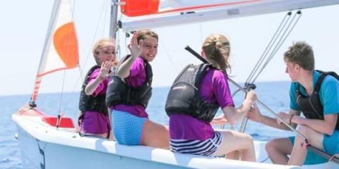 Learning to sail at Neilson's Baia dei Mora Beachclub