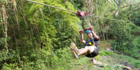 Zip wire adventures at St. Kitts Marriott Resort & Royal Beach Casino.