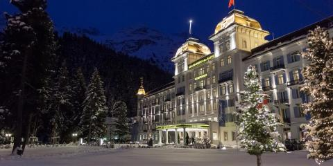 Kempinski Grand Hotel Des Bains at night in winter.