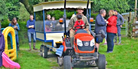 Tractor rides at Coombe Mill.
