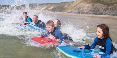 Surfing at Haven Perran Sands.