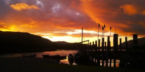 Sunset view of the Lodore jetty at Lodore Falls Hotel.